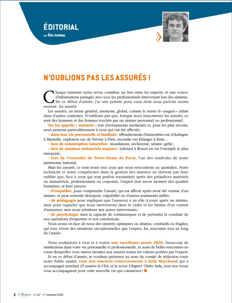 Edito de Eloi Jutteau pour la revue L'Experts
